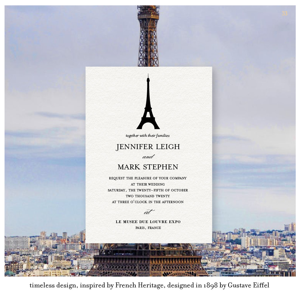 Paris Eiffel Tower wedding invitations