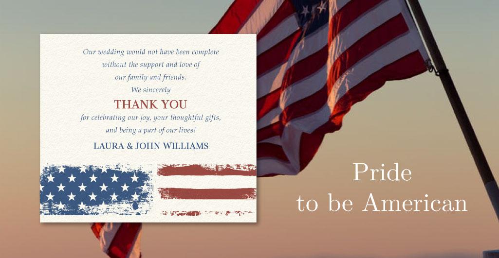 american flag wedding favor cards