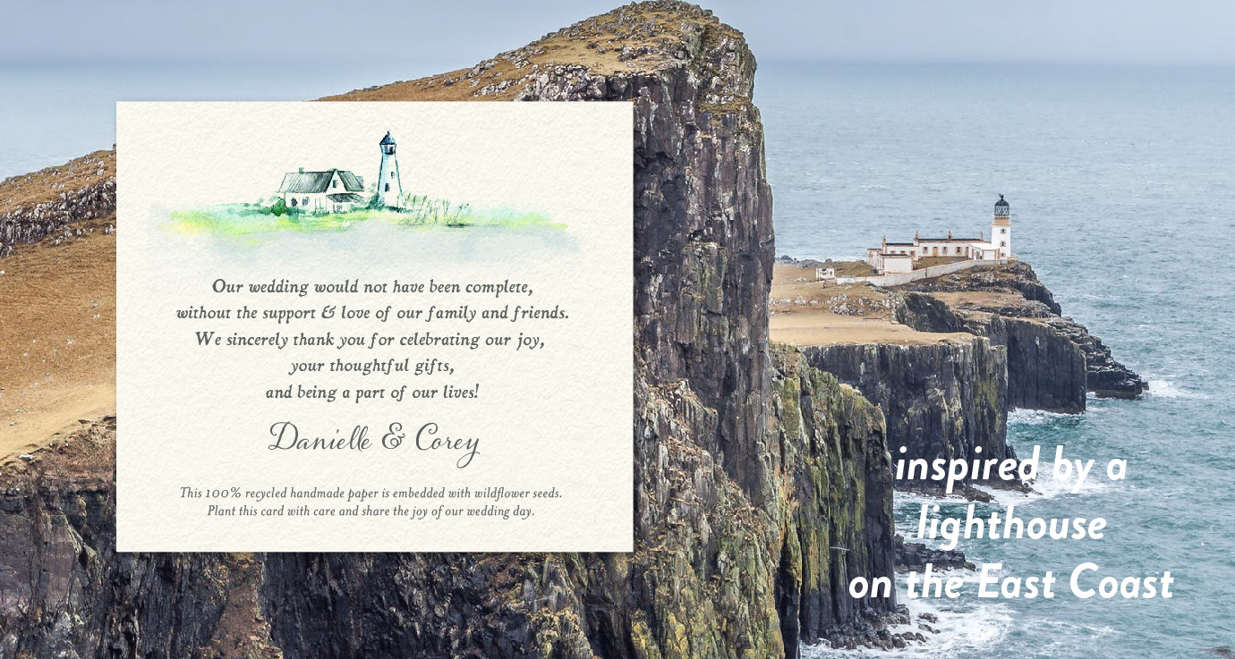 cape cod lighthouse wedding favor cards