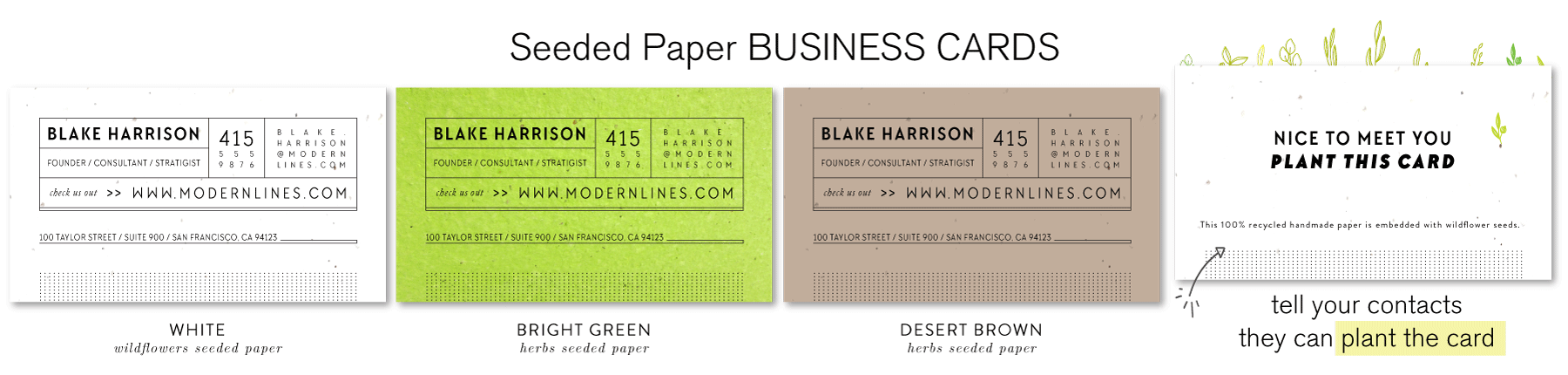 modern green business cards