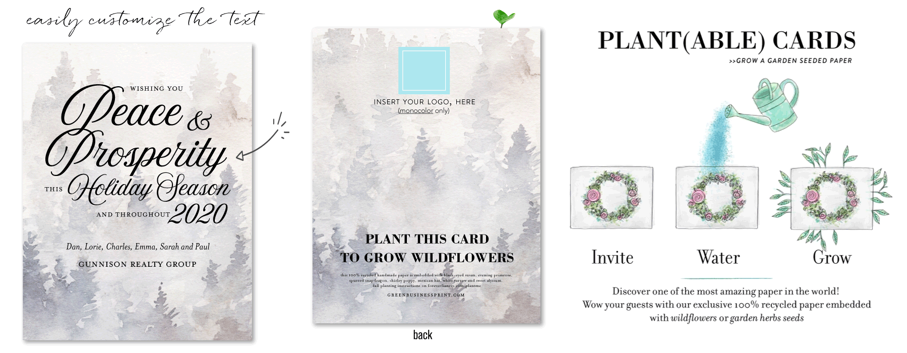enchanted forest business holiday cards