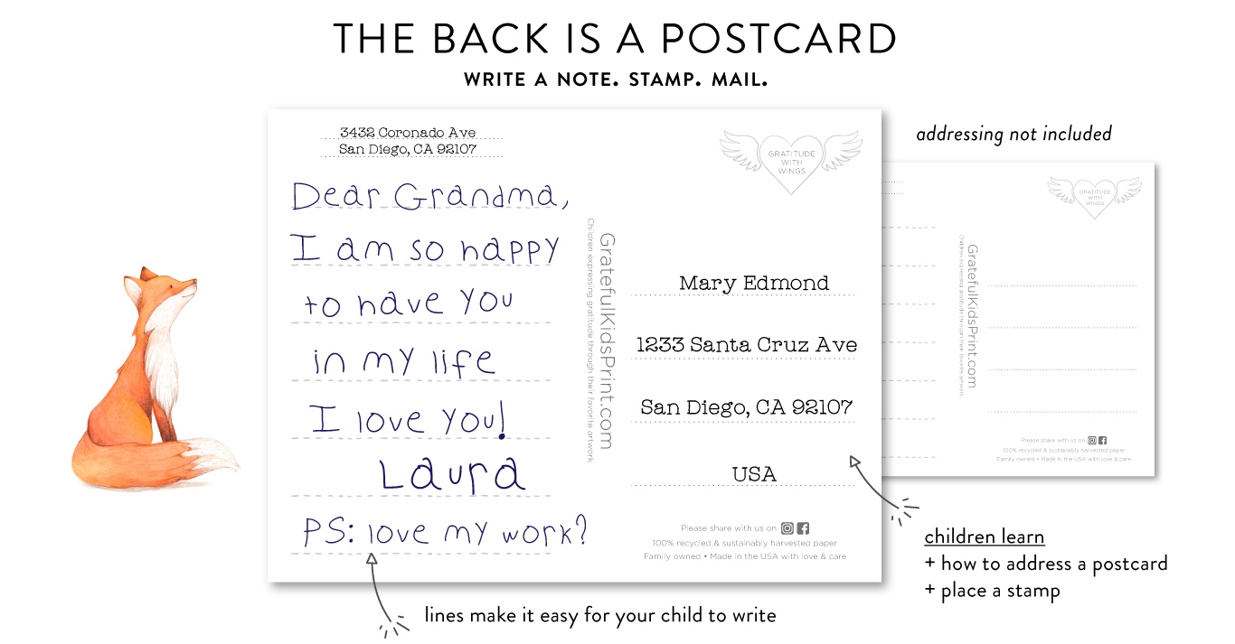 postcard thank you cards for kids