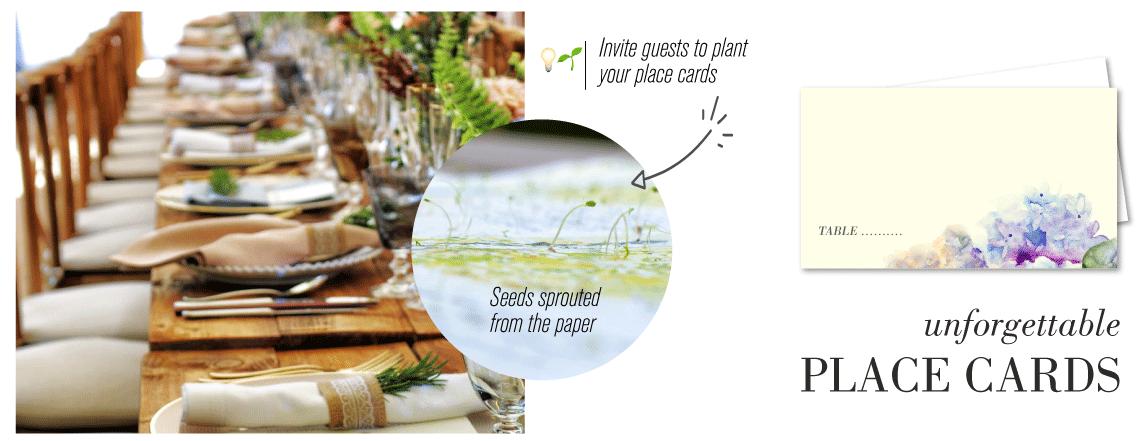 wedding place cards hydrangea