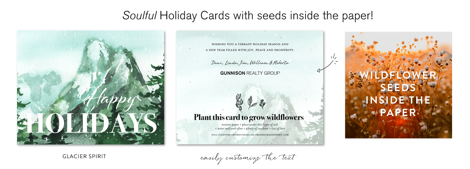 Seeded Corporate Holiday Cards Glacier