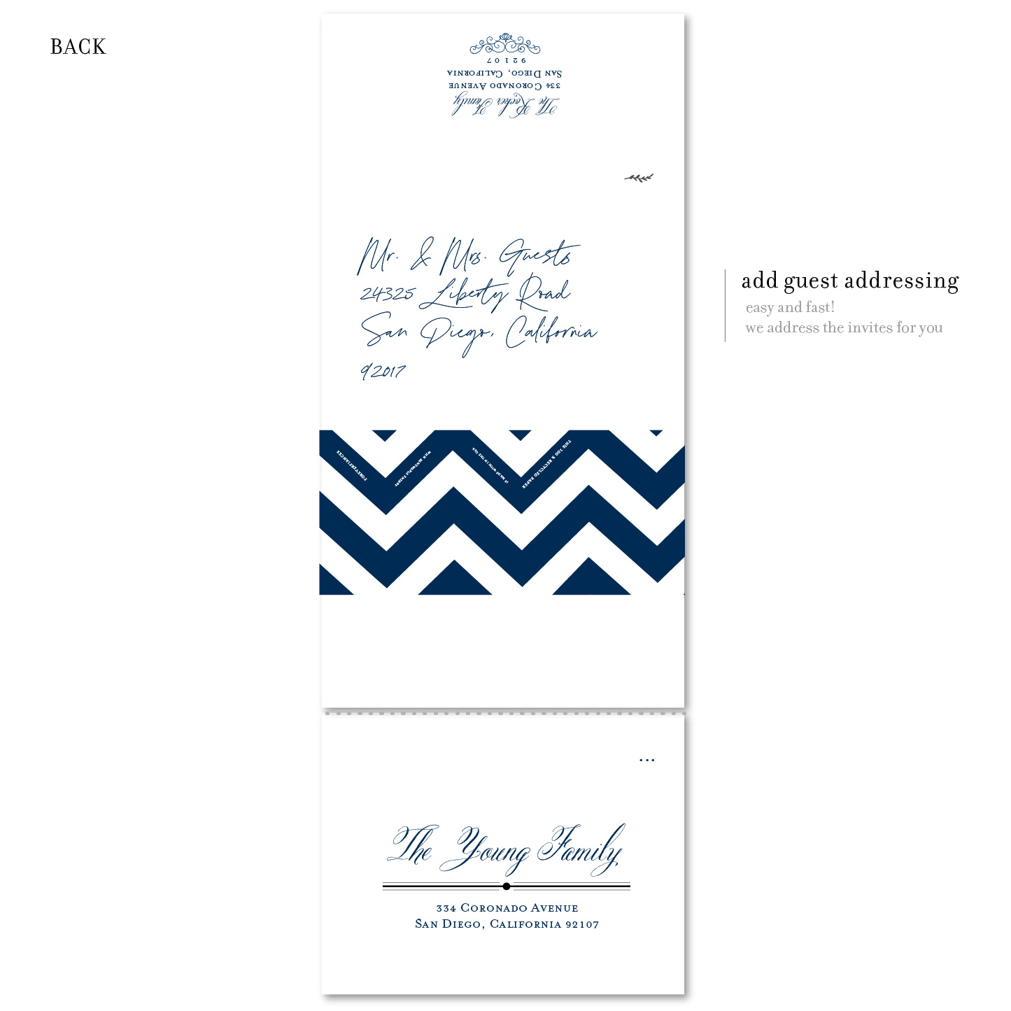 chevron invitation back