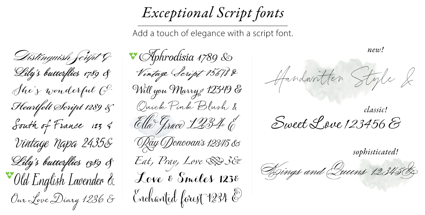 exceptional script fonts weddings