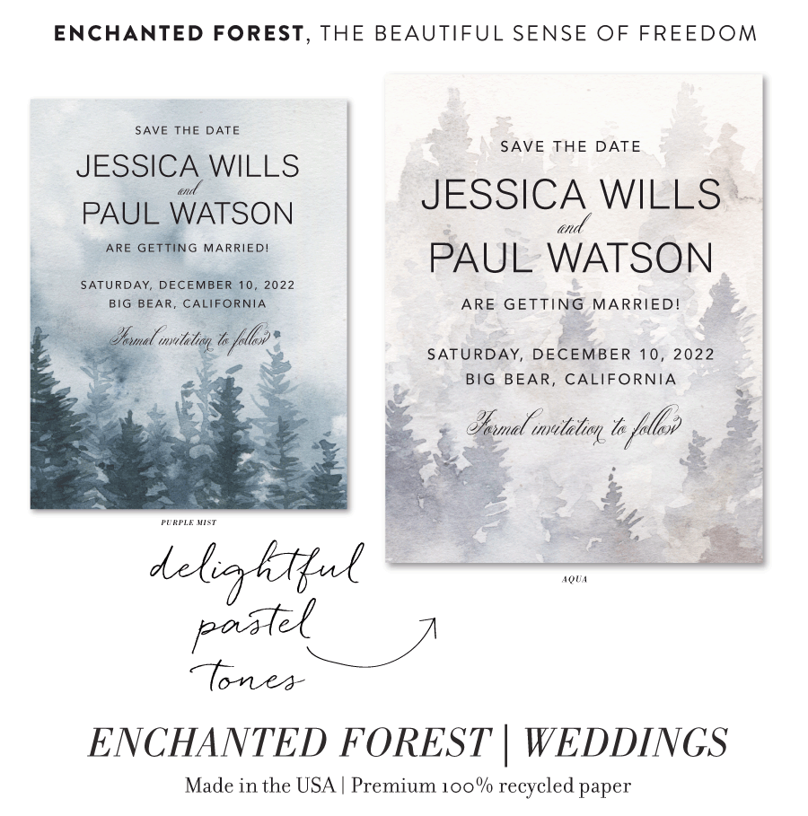 Enchanted Forest Wedding Save the Date cards