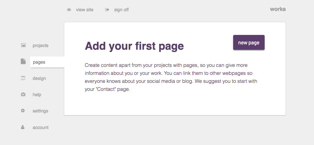 Add your first page