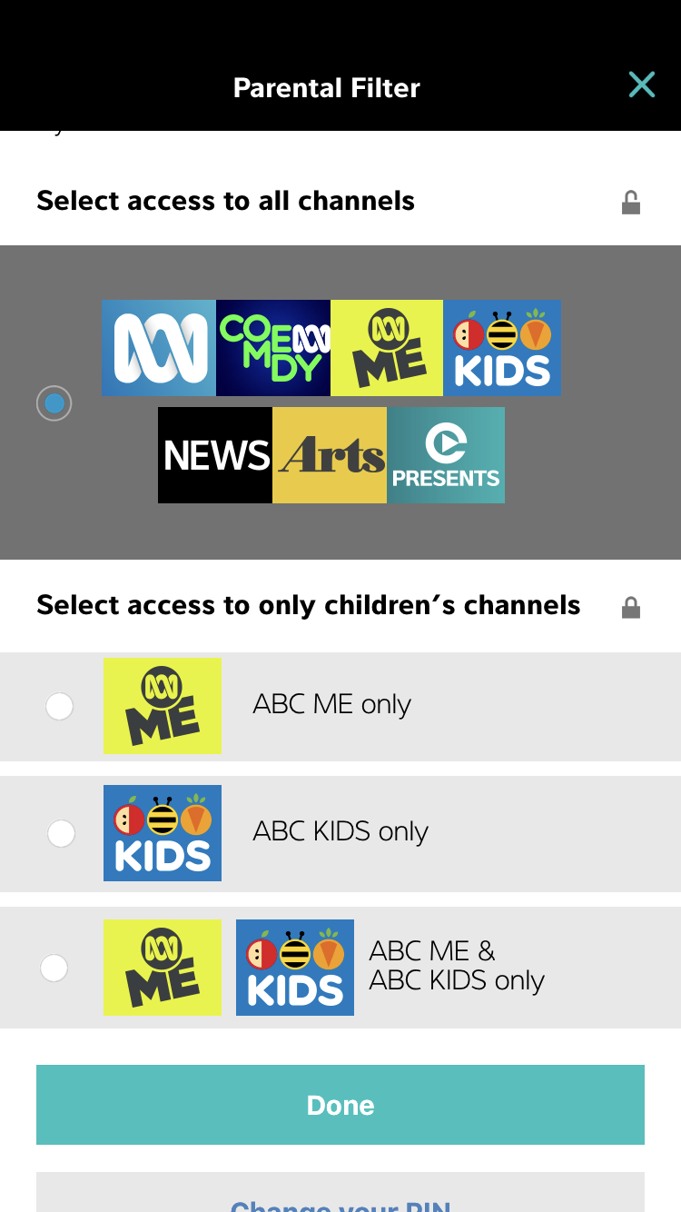 iview Parental Filter. Select access to channels