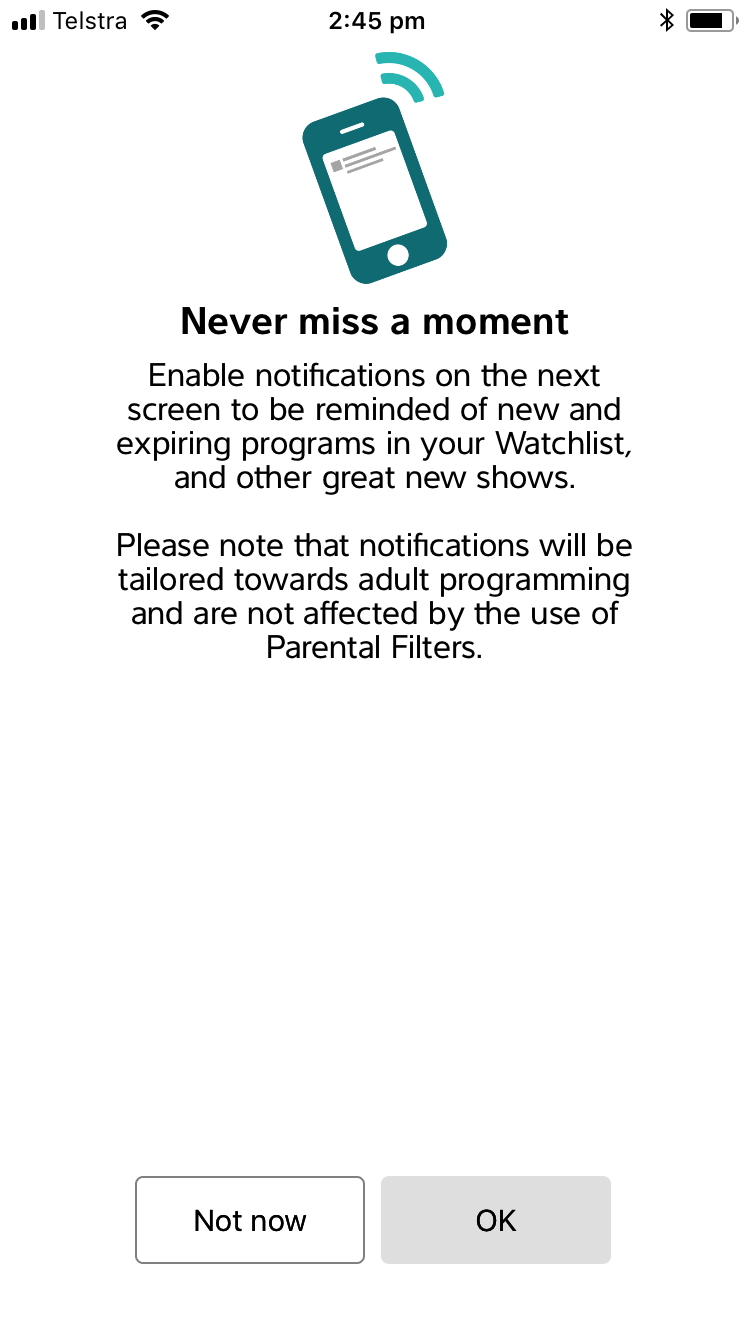 ABC iview notification prompt