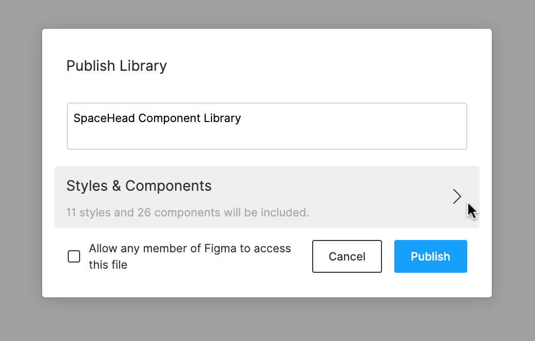 Arrow leading to Styles and Components menu of Library publishing modal