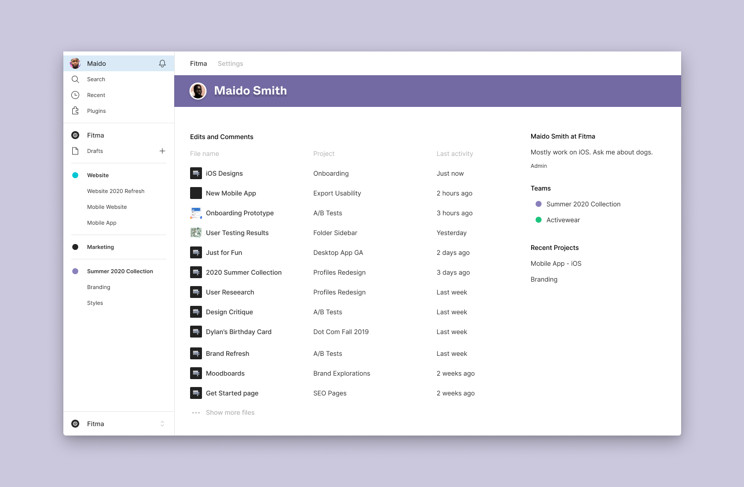 Use the internal profile to view a detailed history of a person's activity across teams, files, and projects