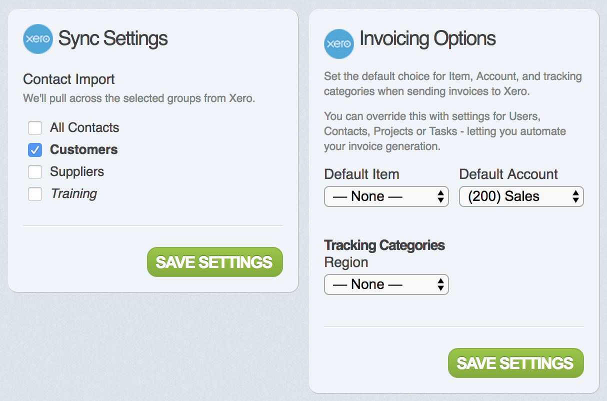 Configuring items, tracking categories and ledger accounts - Xero