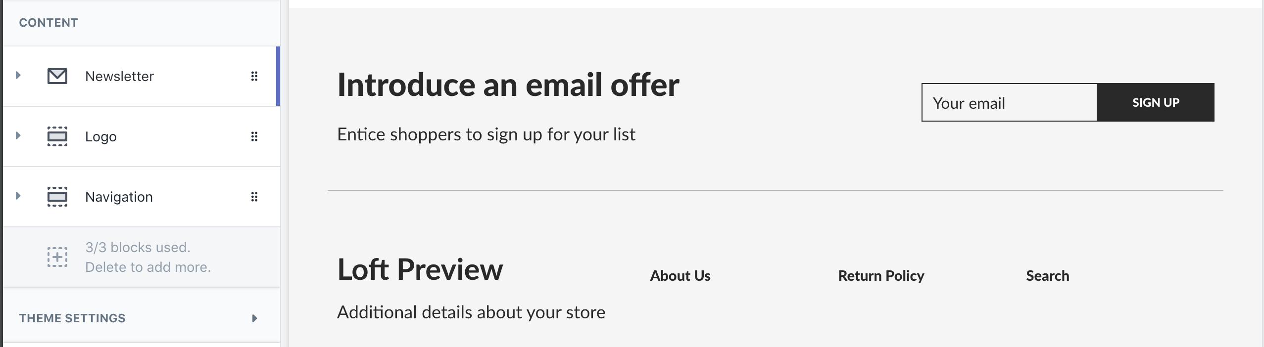 Newsletter block above the logo and navigation blocks