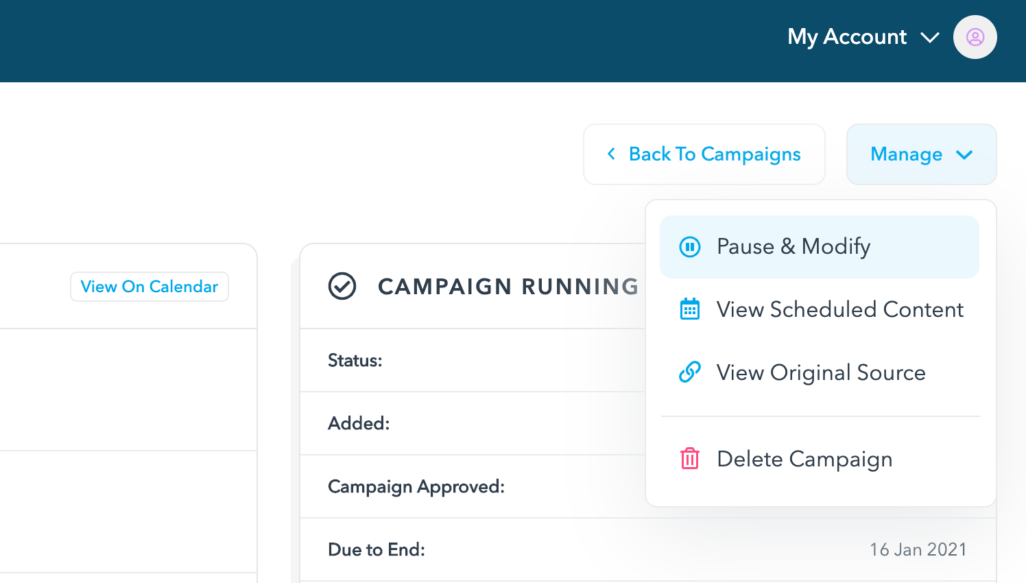 Campaign action buttons on the detail page