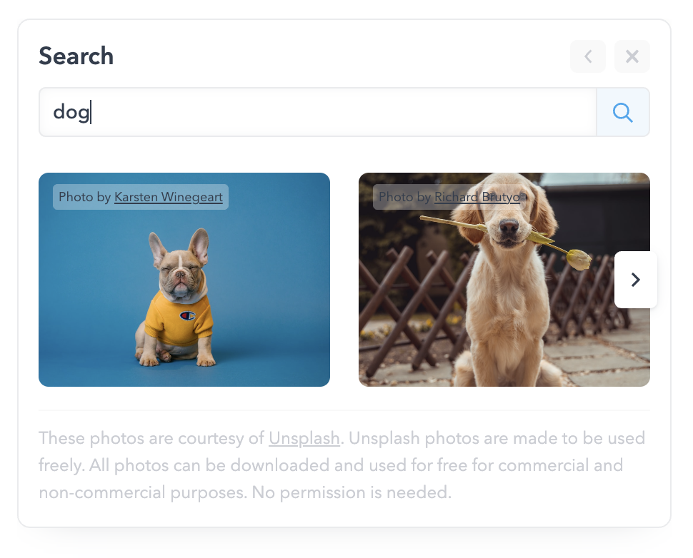 Add stock photos and animated gifs to your posts