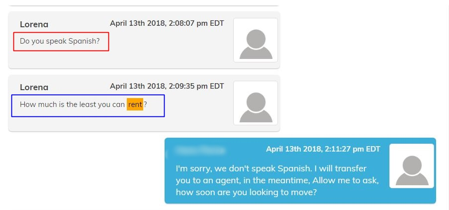 Lead requesting assistance in Spanish or asking us to engage