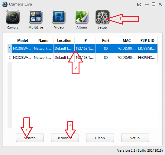 How to use Camera Live to locate the camera's IP address ...
