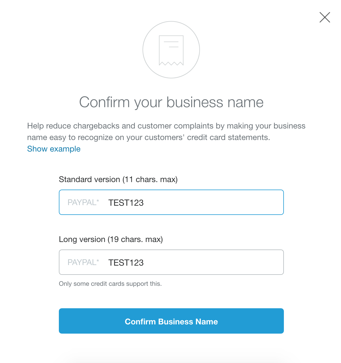 how to change confirm business name paypal