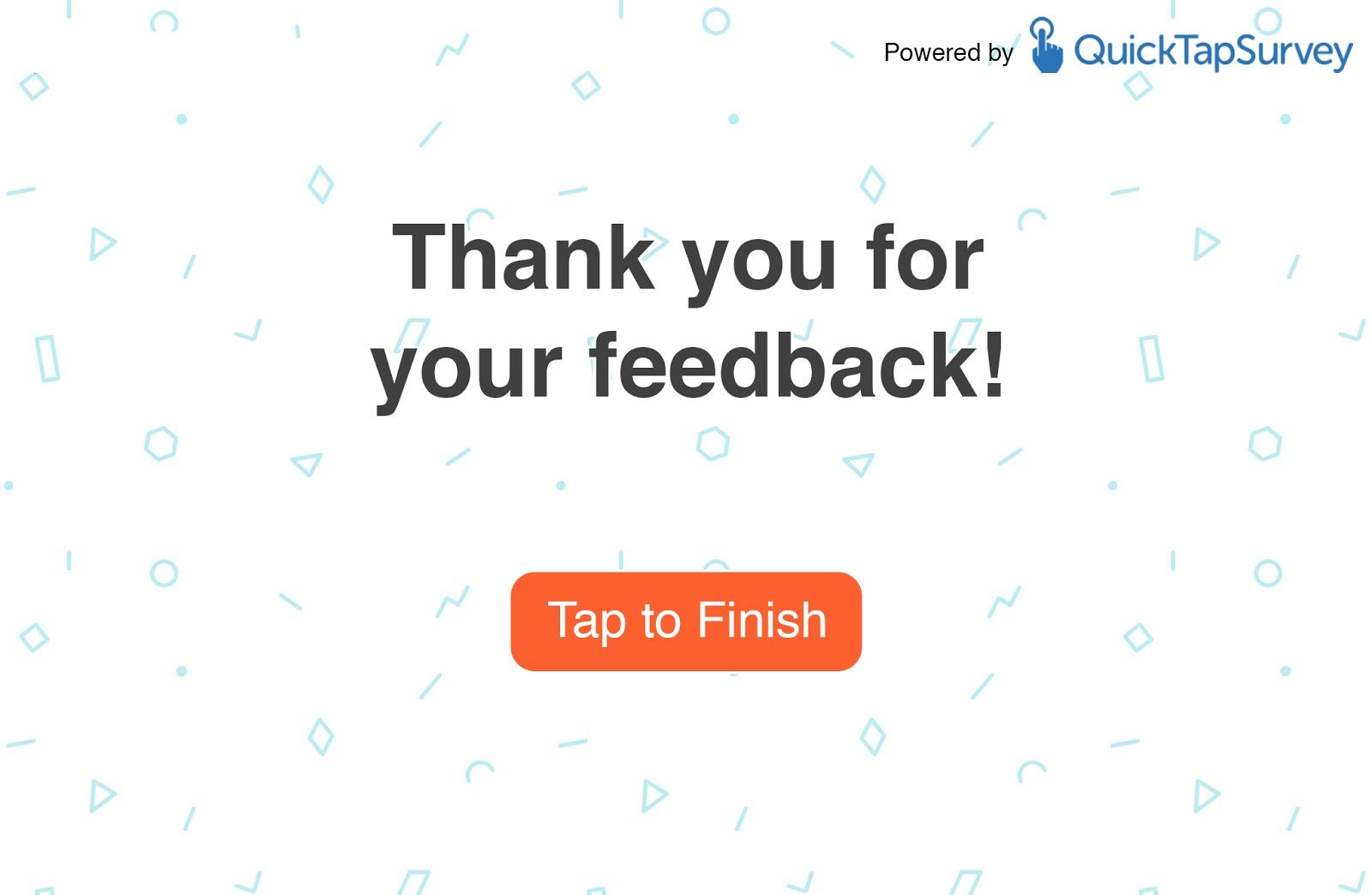 Feedback Survey End Screen