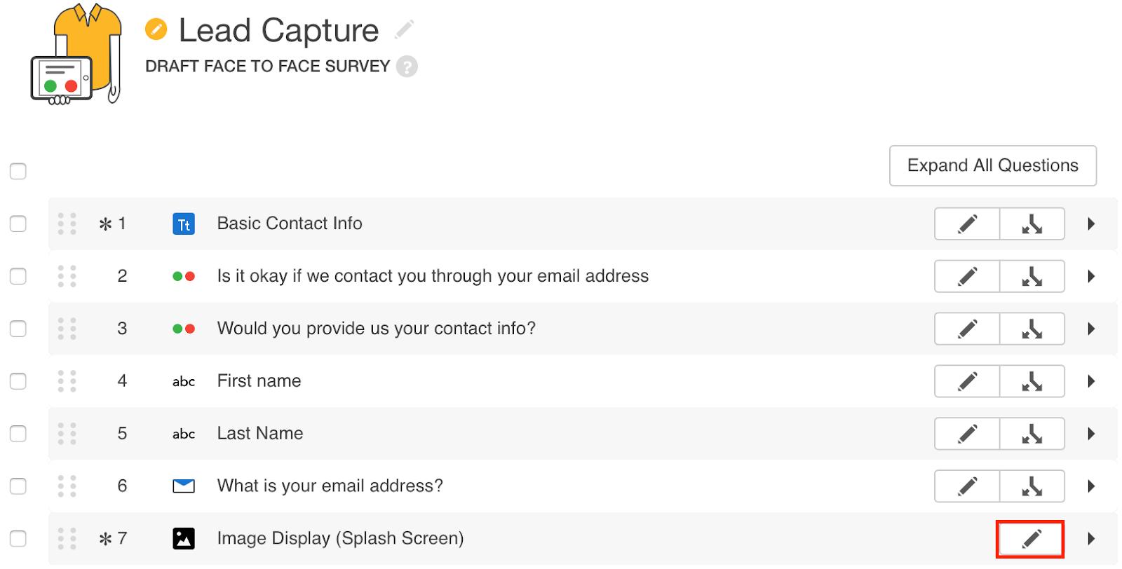 Lead Capture Survey Mobile