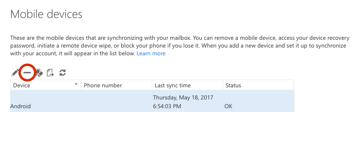 Fix email sync issues or remove a device from your Exchange Outlook