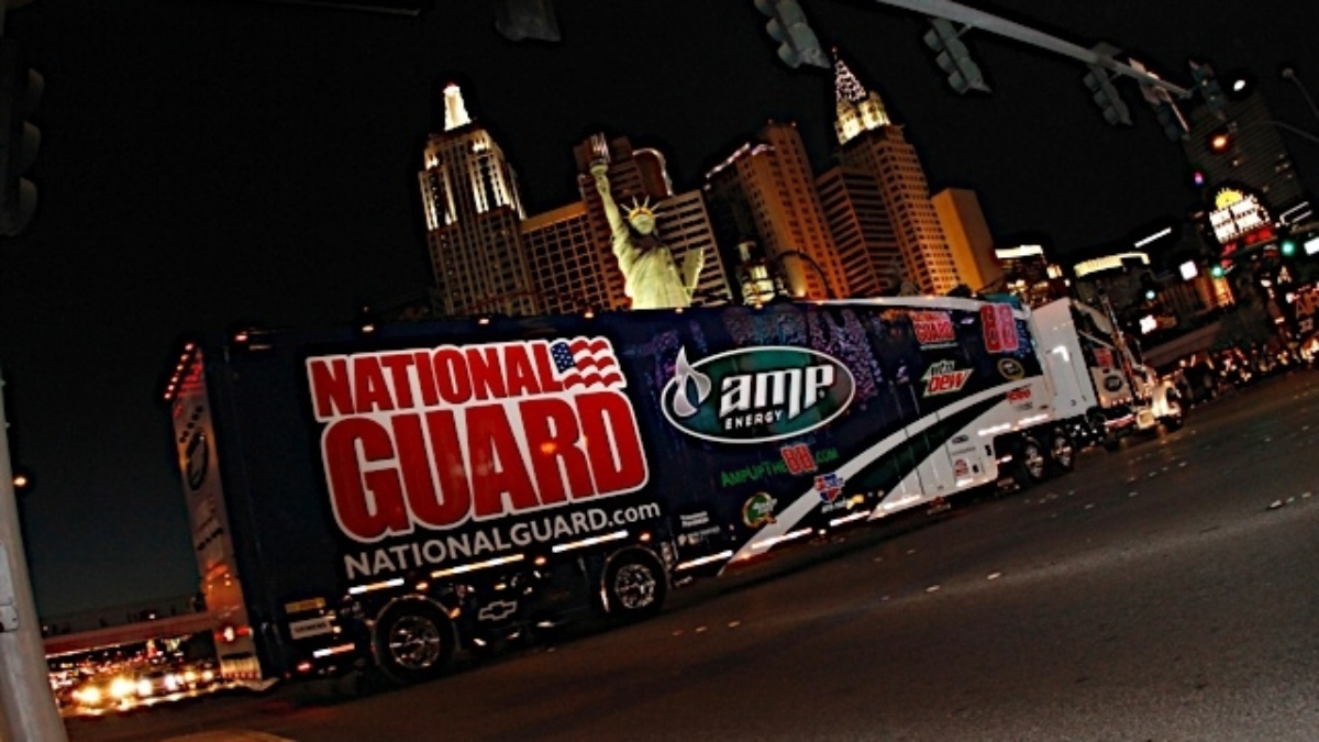 Hendrick Motorsports transporters join hauler parade in California