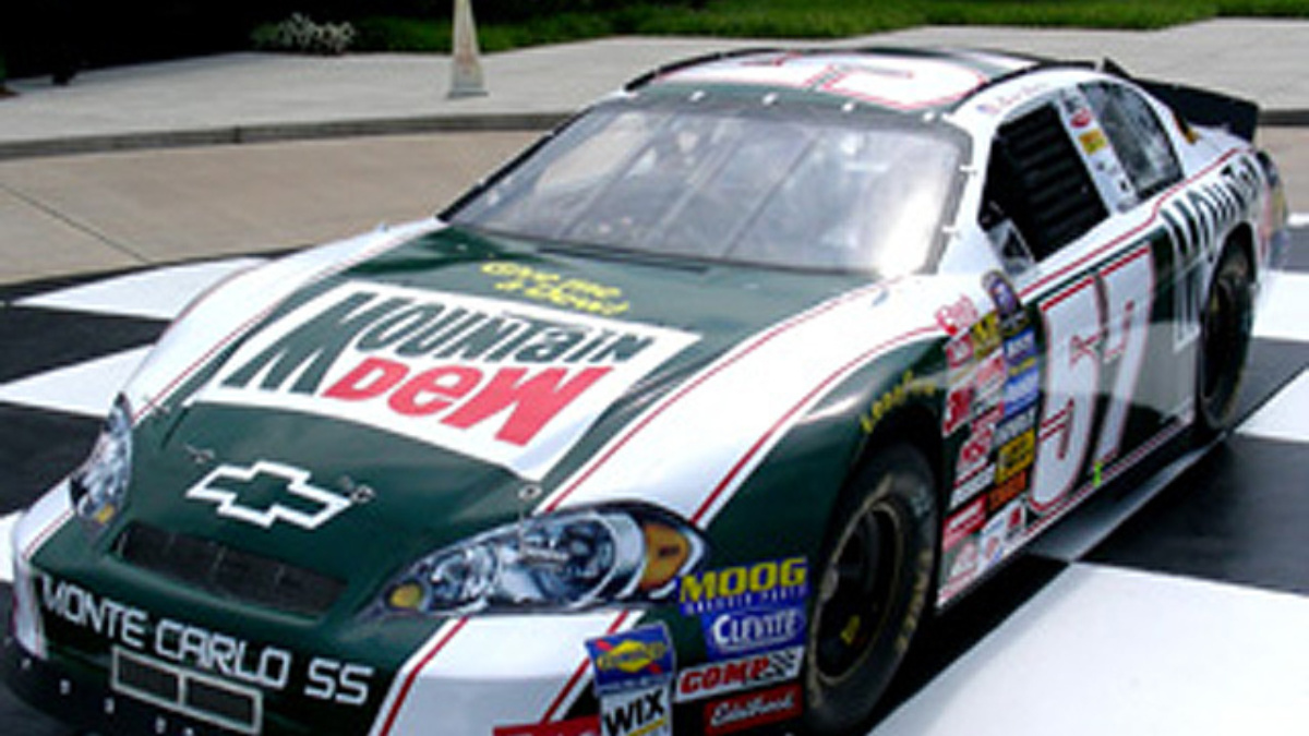 Vickers Driving Retro Mountain Dew Chevy at MIS