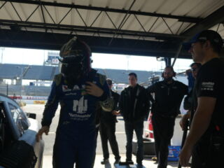 Butterflies for Earnhardt before climbing in car at Darlington test session