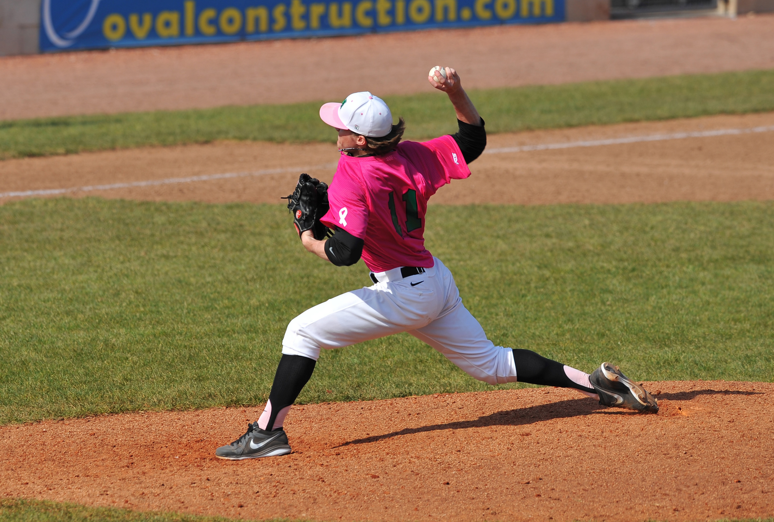 Senior Josh King in the special Breast Cancer Awareness jerseys
