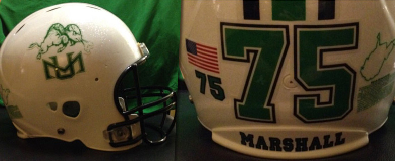 A special helmet will be worn by the Marshall University football team this Saturday against Middle Tennessee.