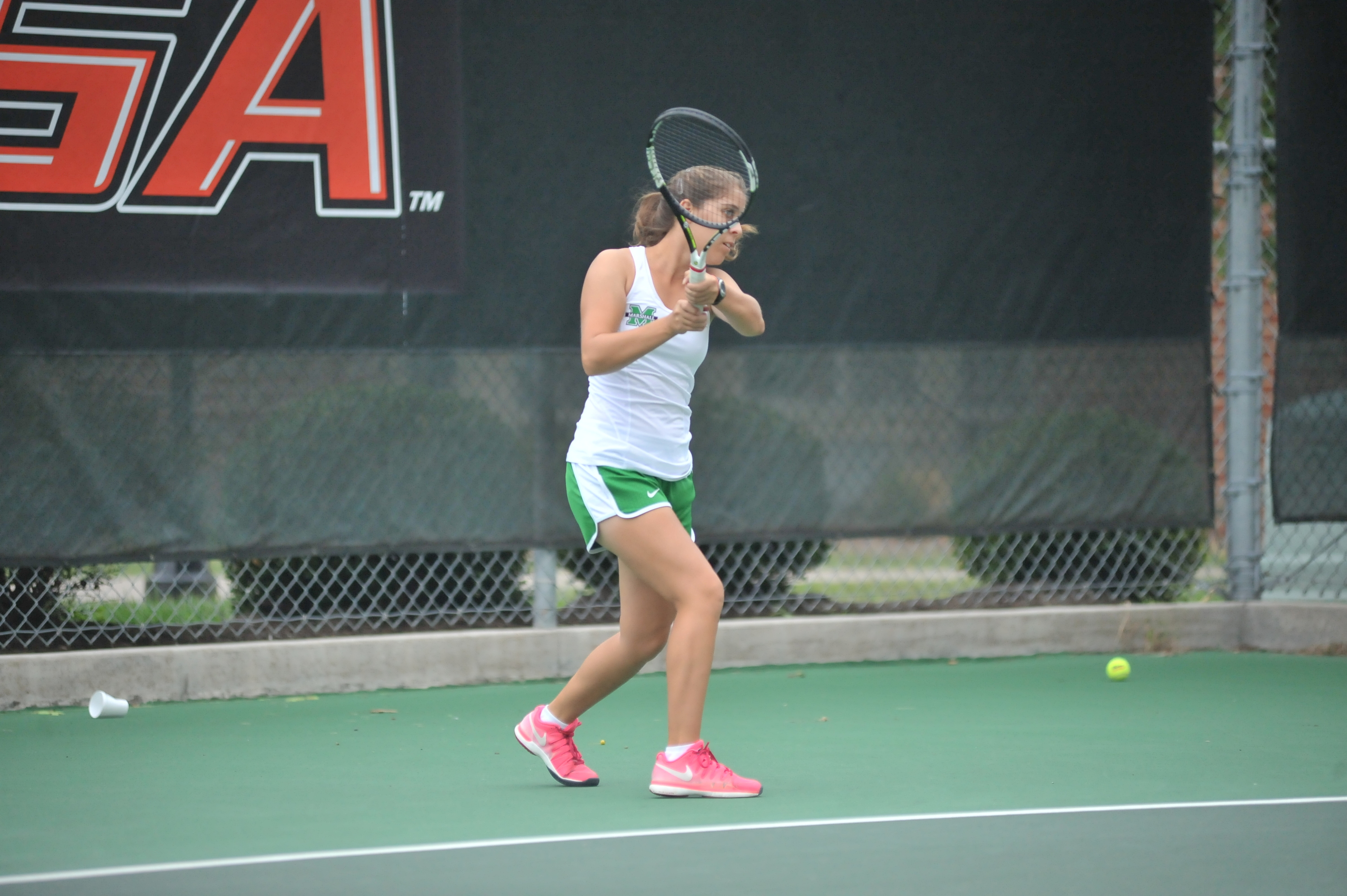 Rachael Morales won a singles match and a doubles match Sunday.