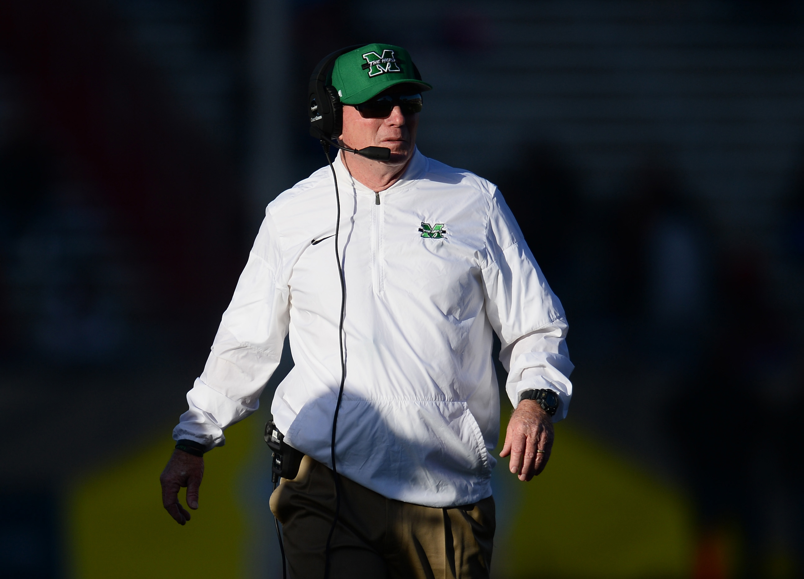 Dec 16, 2017; Albuquerque, NM, USA; Marshall Thundering Herd head coach Doc Holliday looks on against the Colorado State Rams during the first half in the 2017 New Mexico Bowl at Dreamstyle Stadium. Mandatory Credit: Joe Camporeale-USA TODAY Sport