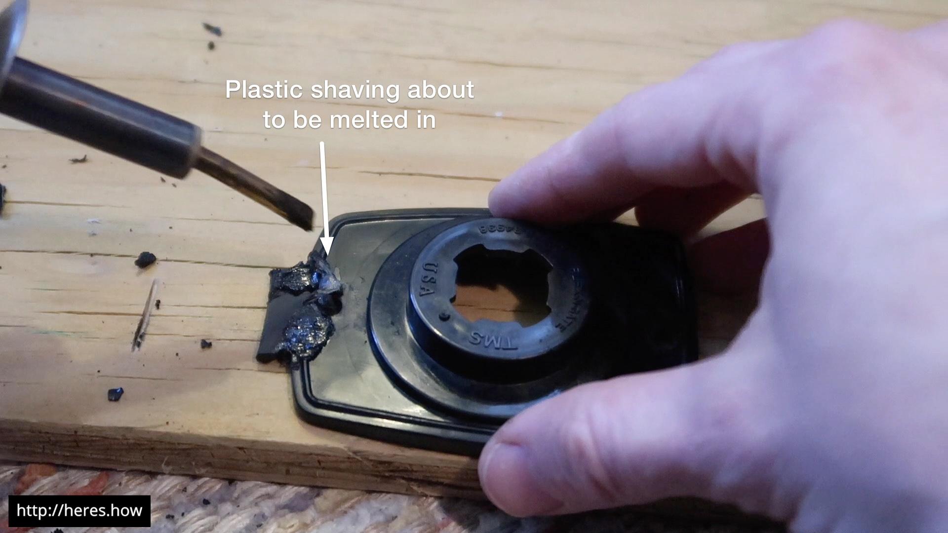 Filling gaps with plastic shavings