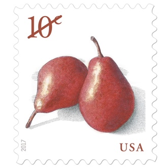 USA 10 cent stamp, two red pears reading 10¢ in the upper left and USA in the bottom right, in red font