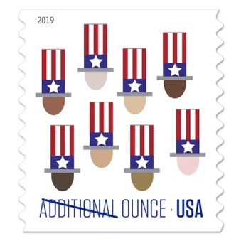 USA additional ounce, 15 cent stamp, president heads wearing flag-themed tophats