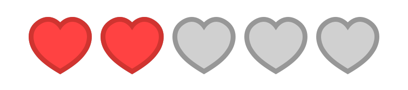 Star rating except it's displaying 2 heart icons