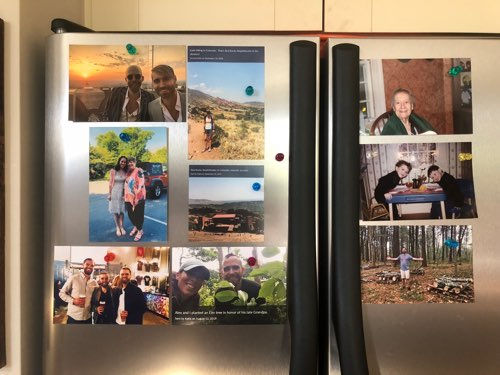 Photos pinned to a fridge with magnetic pins in various sizes 4x6 and 4x4.