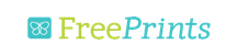 FreePrints logo. On the left side of the logo is a square, teal icon. There appears to be a simple butterfly icon inside the teal square. Then the word Free in green and Prints right next to the word Free (FreePrints) in the same teal color as the box and italic.