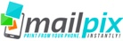 Mailpix logo. A relatively dense logo design. An icon of a smart phone with three boxes floating above it is on the left side of the logo. The boxes are teal, green, and orange. The word mailpix is all lowercase. The word mail is black and pix is teal. There's text below mailpix but it's so small it's not legible.