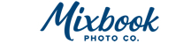 Mixbook logo. The word Mixbook takes up most of the logo. It's in a cursive, hand-written style. Below it in all caps are the letters PHOTO CO. The logo is navy blue.