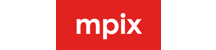 mpix logo. The logo exists inside a bright, red rectangle. All of the letters (in white) are lowercase: mpix.