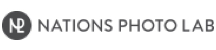 Nations Photo Lab logo. Fancy dark grey circle icon then the words NATIONS PHOTO LAB to the right in a thin, sans serif font; also dark grey.