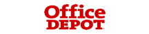 Office Depot logo. The word Office is positioned above the word Depot. The word DEPOT is all caps. The logo is a bright red, slightly on the darker side.