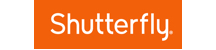 Shutterfly logo. It exists inside an orange rectangle. The word Shutterfly is in white text, centered inside the orange rectangle. There's a tiny registered trademark symbol on the bottom right of the text. The font is a skinnier font weight.