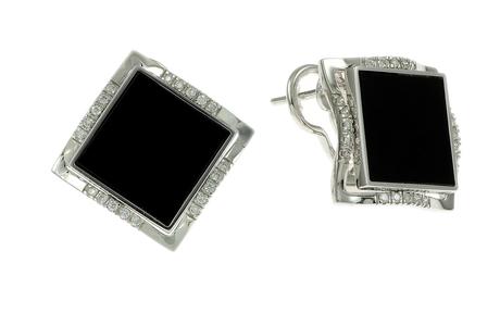 Ohrschmuck 750/- Weißgold mit Diamanten und Onyx