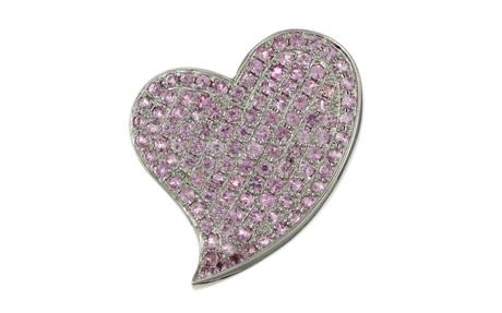 Anhänger Herz 750/- Weißgold mit rosa Spinell