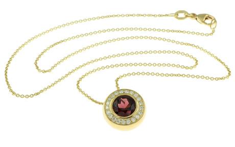 Collier 750/- Gelbgold mit Diamanten und Almandin
