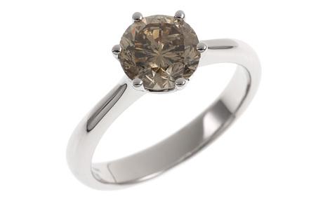 Ring 750/- Weißgold mit braunen Diamanten