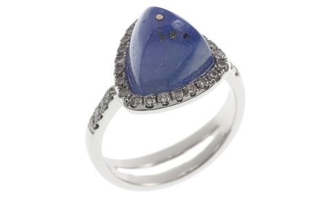 Ring 750/- Weißgold mit Diamanten und Iolith